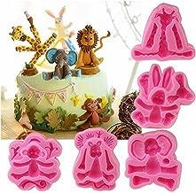 5-Pack Africa Animals Fondant Molds Set- MoldFun Zoo Themed Giraffe Rabbit Elephant Lion Monkey Silicone Mold for Kids Birthday Cake Topper Decorating