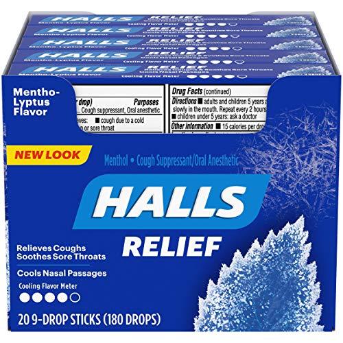 HALLS Relief Mentho-Lyptus Menthol Flavor Cough Drops, 20 Packs of 9 Drops (180 Total Drops)