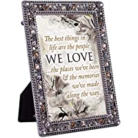 Cottage Garden People Love Places and Memories Jeweled Pewter Colored 5 x 7 Easel Back Photo Frame [並行輸入品]