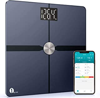 1byone Smart Bathroom Body Scale - Body Fat Scale with APP to Monitor 8 Essential Measurements, ITO Conductive Glass, FDA Approved Body Composition Analyzer Wireless BMI Weight Scale – Black