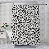 Aishare Store - Cortina de ducha con ganchos, diseño blanco y negro con ramas flacas con hojas de desplazamiento, 183 x 243 cm, impermeable, color crema