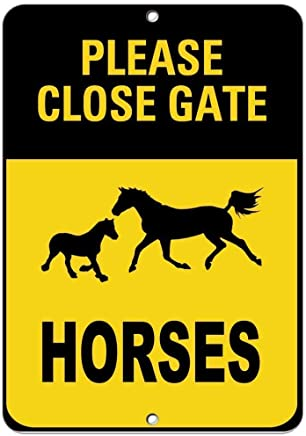 99e53ae9697 AdriK Funny Sign Gift Please Close Gate Horses Activity Sign Farm Sign  General Metal Sign Wall