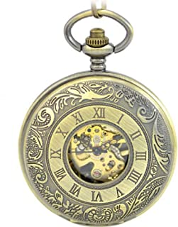 YXZQ Pocket Watch, Double Open Men Chain Mechanical Hand Winding Bronze Watch Roma Number Steampunk Watches Father Gifts