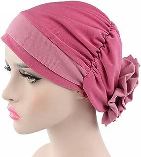 xzbailisha Women Turban Stretch Back Big Flower Muslim Hat Cancer Chemo Cap