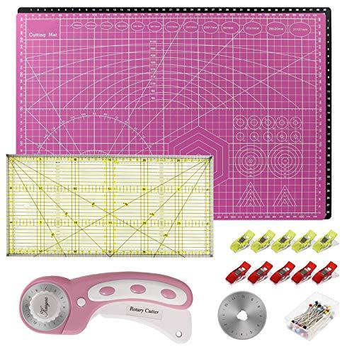 KEAYOO Alfombrilla de Corte A3 Set Cúter Rotativo, Cuchilla de Repuesto, Patchwork de Regla, Juego de patchwork,Juego de Tapete de Corte Rosa Negro
