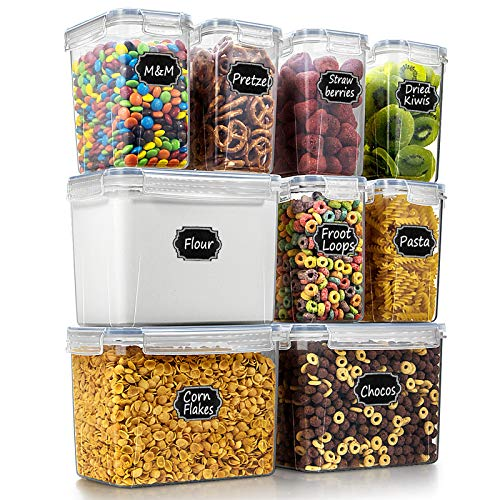 Wildone Frischhaltedosen Set von 9 – luftdichte Müsli & Trockenfutter Vorratsdosen für Mehl, Zucker, Backzubehör, grauer Deckel mit 20 Kreidetafel-Etiketten & 1 Marker