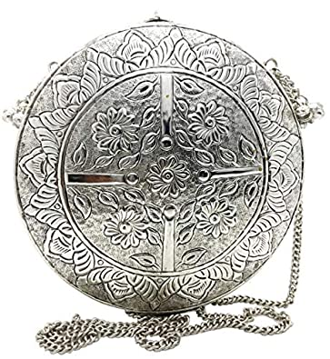 Trend Overseas Silver color Round Shape vintage Antique Hand Carving clutches Handmade Brass metal purse women party clutch