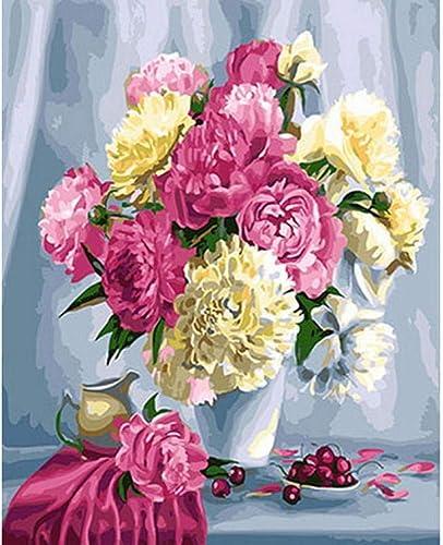 Waofe Peinture Par Numéros Bricolage Peinture à L'Huile Sur Toile Pour La Décoration Intérieure Peinture Animalière Blanc Et Rouge- With Frame3