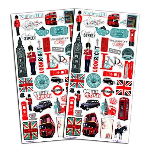 Toga STF38 Destination Londres Lot de 60 Autocollants Papier Rouge/Bleu/Noir 15 x 32,5 x 0,2 cm