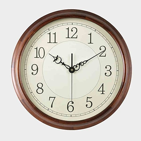 CLOCKZHJI Retro Solid Wood Wall Clock Silent Non Ticking Quality Quartz Battery Operated Round Easy To Read Home Office School Clock Size 41cm 16inch