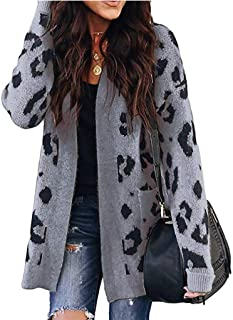 Womens Leopard Cardigan Sweater Ugly Christmas Sweater Casual Long Sleeve Xmas Reindeer Button Down Knit Christmas Cardigan Knitted Jacquard Ladies Outwear Coats