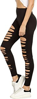 SweatyRocks Women`s High Waisted Cutout Ripped Skinny Leggings Yoga Active Pants