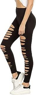 Women's High Waisted Cutout Ripped Skinny Leggings Yoga Active Pants