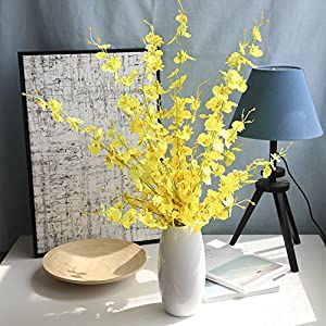Simulation Flower, Lotus.flower Single-Piece Artificial Fake Flowers Winter Jasmine Leaves Floral Wedding Party Home Decor (Yellow)