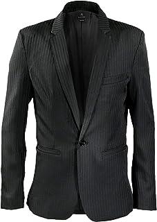 テーラードジャケット ストライプ メンズ 1釦 ノッチドラペル 日本製 スリム シャドウストライプ ジャケット ブラック黒 931735