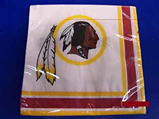 Washington Redskins NFL Pro Football Sports Banquet Paper Beverage Napkins Football Game Day Sports Themed College University Party Supply NFL Napkins Beverage for 20 Red Yellow White Napkins