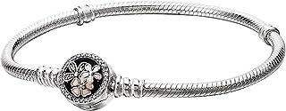 Pandora 590744CZ-18 Moments Sterling Poetic Blooms Bracelet for Women - 18 cm