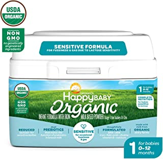 Happy Baby Organic Stage 1 Infant Formula Sensitive, 21 Ounce Organic Formula Dual Prebiotics, Milk Based Powder, Non-GMO (Packaging May Vary)