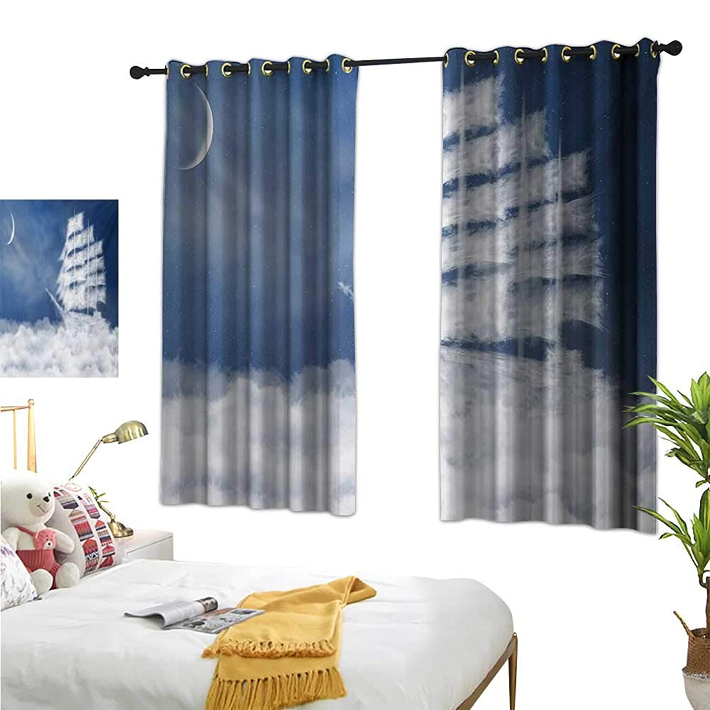 Warm Family Eclipse Curtains Nautical,A Yacht in The Ocean Made and Shaped with Fluffy Clouds Atmospheric Imaginary Sky,Blue White 72
