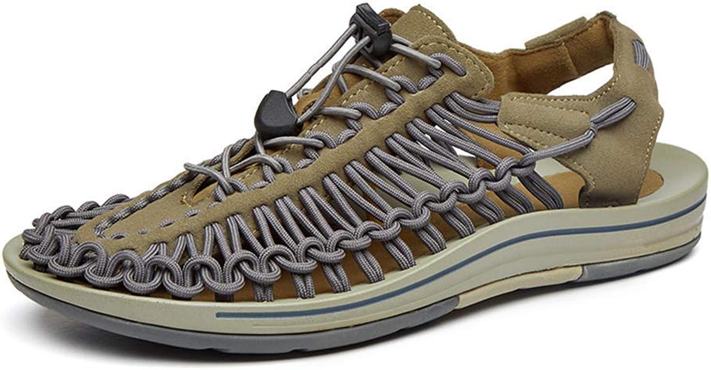 ZHRUI Men Knitted Sandals Summer Comfortable Outdoor Casual Slippers Walking Sandals (color   Dark Khaki, Size   5.5=39 EU)