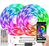 LED Lights for Bedroom 65.6ft/20m Music Sync Led Strip Lights Bluetooth, SMD 5050 LED RGB Bedroom Lights Color Changing for TV/Decorations, 12V Smart Dimmable Gaming Led Tape Lights with Remote