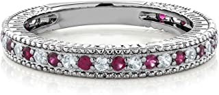 Gem Stone King 925 Sterling Silver Red Created Ruby and White Created Sapphire Wedding Band Ring (0.48 Ct Available 5,6,7,8,9)