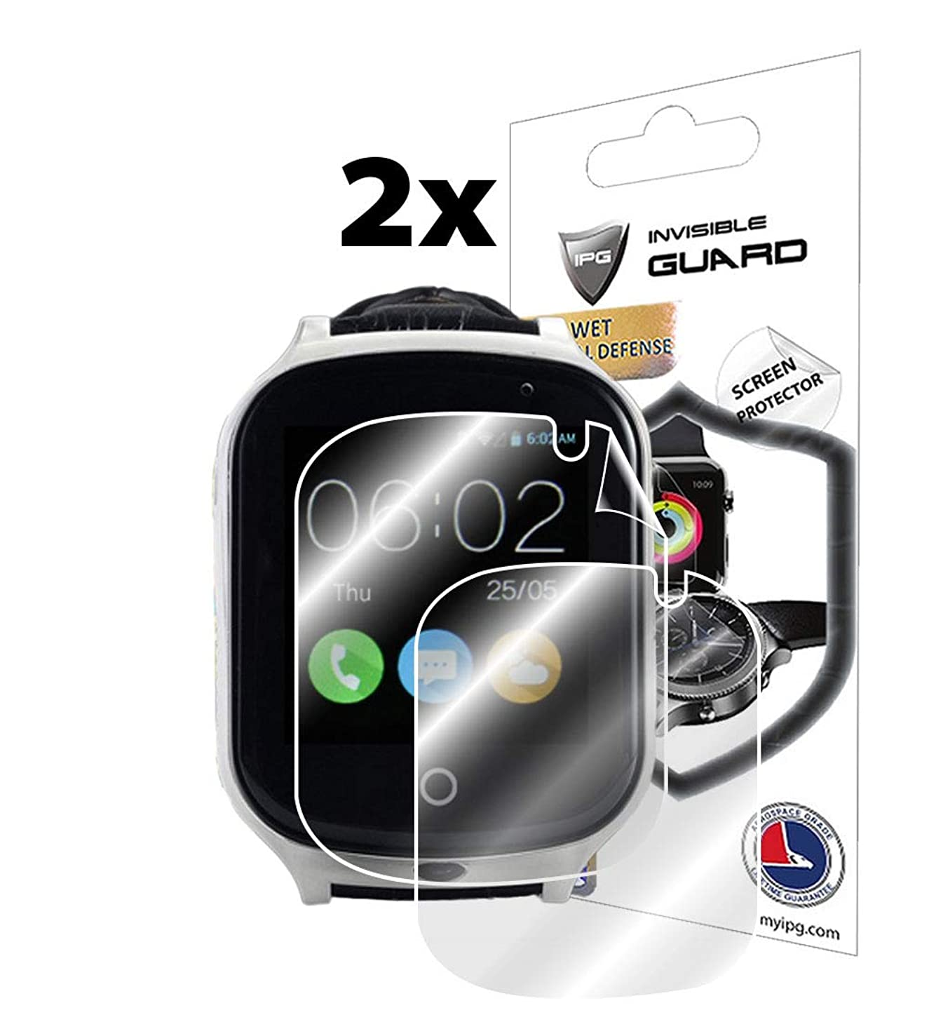 IPG for LAXCIDO Kids Smart Watch Screen Protector (2 Units) Invisible Ultra HD Clear Film Anti Scratch Skin Guard - Smooth/Self-Healing/Bubble -Free by