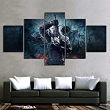 HYSWLH Posters & Prints Art Print Canvas Modular Wall Panel HD 5 Rivia Geralt Witcher 3 Poster Modern Game Image Painting Bedroom@Warlock_Overall_60