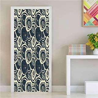 Grunge,3D Door Wallpaper Wood Pattern Nature Inspirations Circles of a Tree Abstract Style DIY Art Home Decor Decoration Dark Blue Pale Reseda Green W36xH79 inch