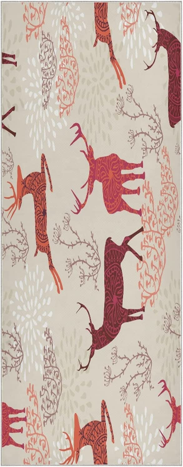 JRDD Reindeer and Portland Mall Snowflakes Yoga Non- National products Quick Dry Towel Mats
