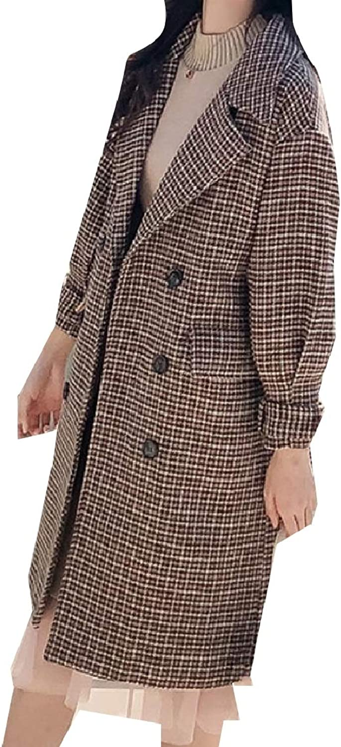 Mfasica Women Houndstooth Trench Thick Woolen Baggy Double Breasted Jacket