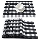 DOLOPL Placemats Buffalo Check Black and White Placemats Farmhouse Buffalo Plaid Placemat Set of 6 Easy to Clean Wipeable Placemats for Dining Kitchen Table Fall Outdoor Halloween Decorations