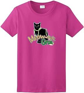 Meow-rdi Gras Funny Cat Mardis Gras Beads Ladies T-Shirt