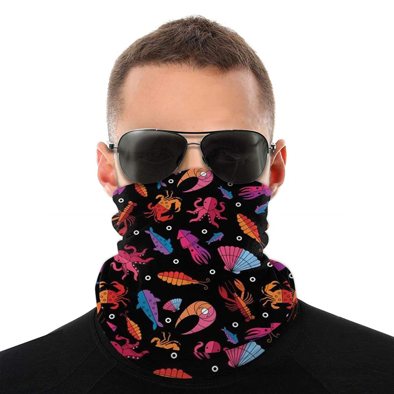 鉱夫テザー今Multifunctional Bandana Face Cover 多機能バンダナフェイスカバー,Seafood Delicacy Theme Modern Design Ocean Wildlife Creatures Compositio...