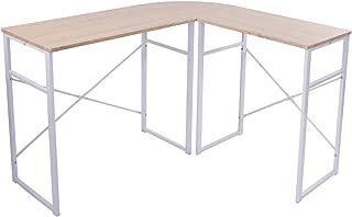 eSituro SCD0020 schrijftafel L-vorm hoekbureau computertafel hoekbureau hout staal licht eiken