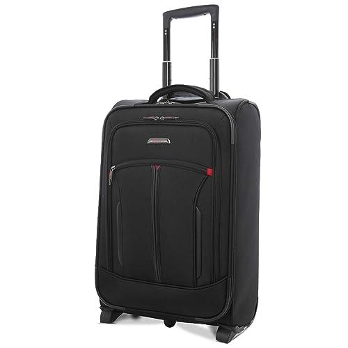"""Aerolite 21"""" Bagage Cabine avec Poche pour Ordinateur Portable - Approuvé pour Air France, KLM, Easyjet & BA, Noir"""