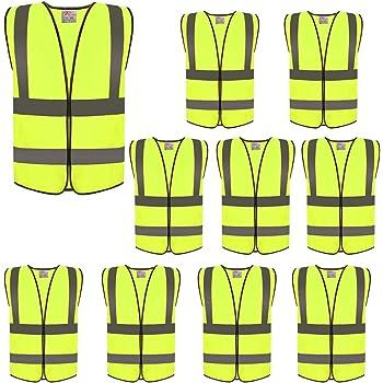 BULK MULTI BUY Yellow Plain Hi-Vis High-Vis Visibility Safety Vest x1-x100