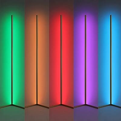 AILRINNI LED Stehlampe Dimmbar, Intelligentes WiFi 142CM Bunte RGB Stehleuchte mit Fernbedienung/ APP-Steuerung, Support Google und Alexa Dimmbar Licht Smart Stehlampe für Wohnzimmer, Spielzimmer