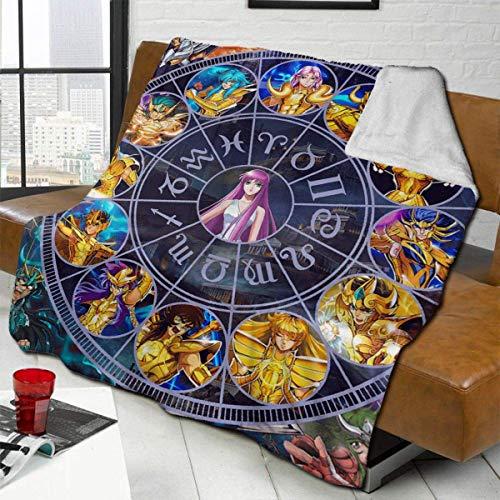 Manta de Franela Tela de Cepillo Extra Suave Súper cálida Mantas para sofás acogedora y Ligera Caballeros del Zodíaco de Saint Seiya50 x40,W127cm X L102cm