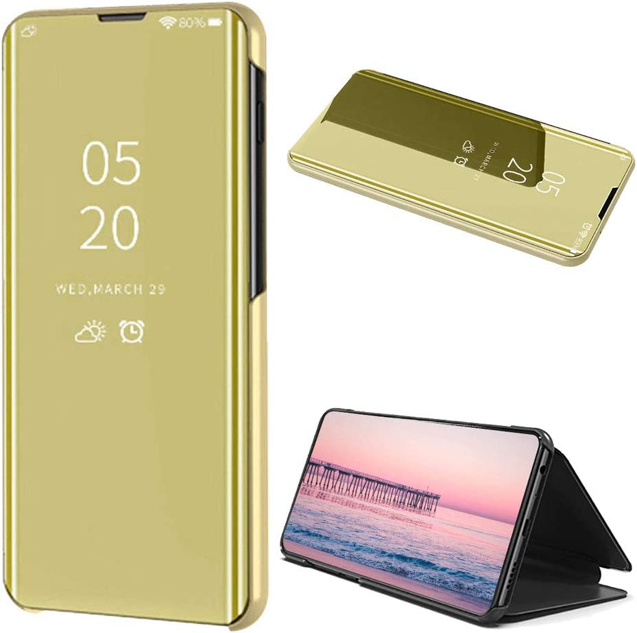 Galaxy Note 10 Case,Suchling Mirror Makeup Case Luxury Slim View Standing Clear Flip Kickstand Protective Full Cover Case for Samsung Galaxy Note 10 Mirror Black 2019 Release