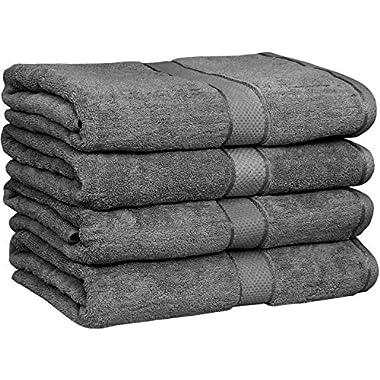 Utopia Towels 30x56 Inches Luxury Cotton Bath Towels, 4 Pack, Dark Grey