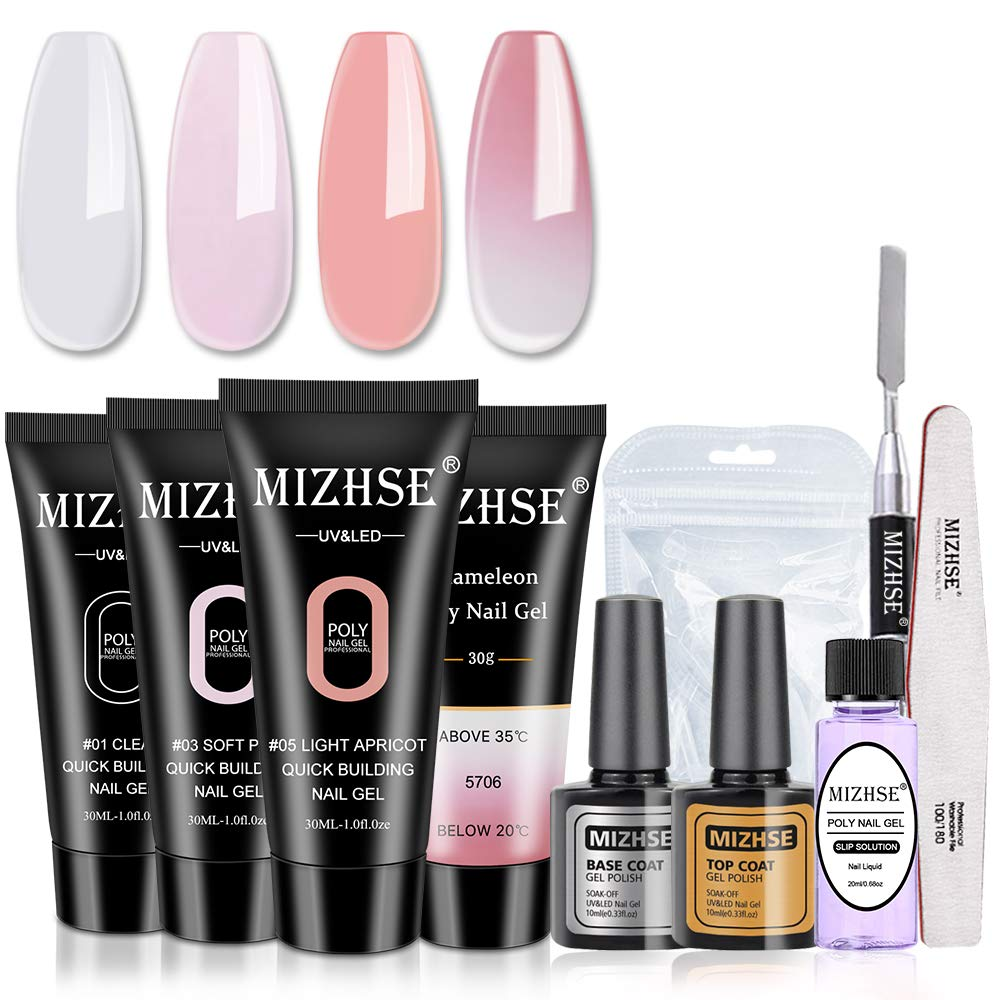 MIZHSE Poly Nail Extension Gel Seasonal Wrap Introduction Industry No. 1 Builder Color Profession Nude