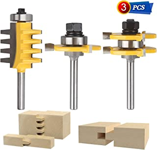 3PCS 1/4-Inch Shank Router Bit Set, Tongue and Groove Router Bit & Reversible Finger Joint Router Bit,Woodworking Chisel Cutter For Density Boards, Solid wood, MDF, Chipboard, Splints, Etc.