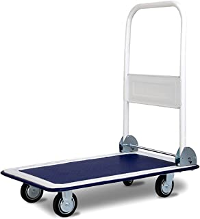 Goplus Folding Platform Cart, Hand Platform Truck Push Dolly, Rolling Flatbed Cart, Ideal for Heavy Grocery Loading (330 LBS, Blue)