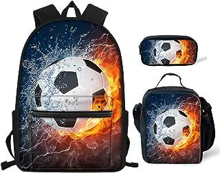 BIGCARJOB School Bookbag Soccer Print Sport Backpack for Boys Mens Multi-function Daypacks 3 pcs Sets