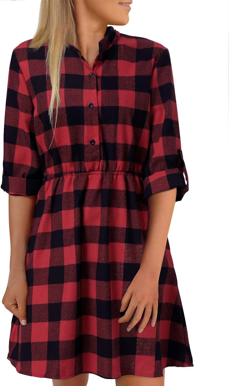 YOINS Button Down Shirt Dresses for Women Casual Long Sleeves Drawstring Tunics top Dress