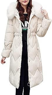 Women's Long Cotton-Padded Faux Fur Hooded Jackets Coats Winter Warm Long Sleeve Pockets Overcoat