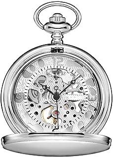 Lwieui Reloj de Bolsillo Reloj de Bolsillo Hueco clásico Tallado en almeja clásico Roman Machinery (Color : Silver, Size :...