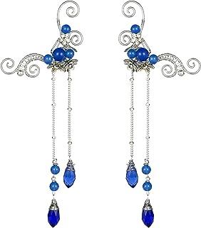 OwMell Elf Elven Ear Cuffs, Non-Pierced Filigree Wrap Earrings Ear Cuffs for Women Bridal Wedding Handcraft Flowers Jewelry Threader Tassel Chain