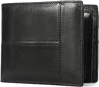 Men's ultra-thin wallet with RFID blocking Men's Genuine Leather bi-fold wallet, 14 card holder large-capacity wallet, 12×...